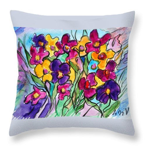 Flowers Throw Pillow featuring the painting Pansies by Luiza Vizoli