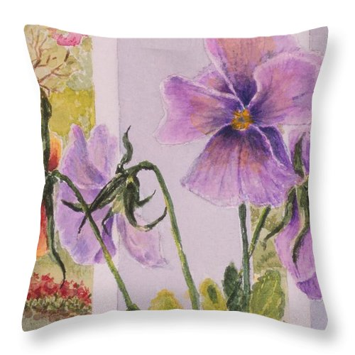Florals Throw Pillow featuring the painting Pansies On My Porch by Mary Ellen Mueller Legault