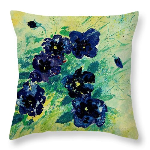 Flowers Throw Pillow featuring the painting Pansies by Pol Ledent