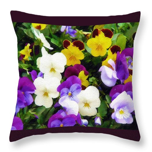Pansies Throw Pillow featuring the photograph Pansies by Sandy MacGowan