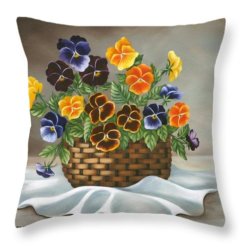 Floral Throw Pillow featuring the painting Pansy Basket by Ruth Bares