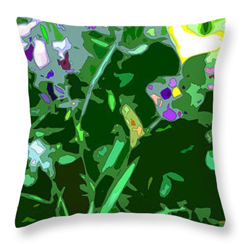 Abstract Throw Pillow featuring the digital art Pansy Flower Garden by Linda Mears