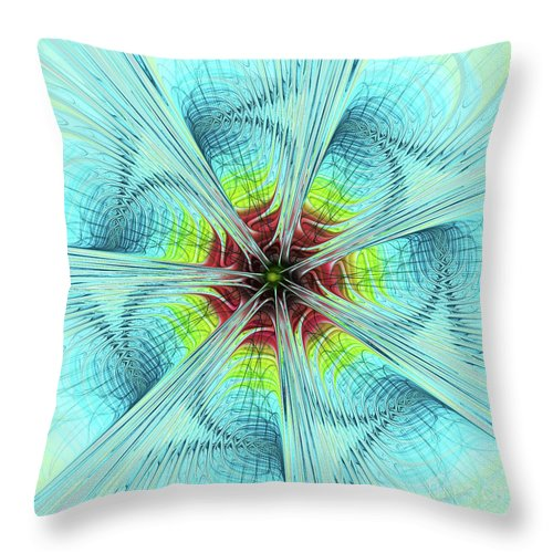 Pansy Fractal Throw Pillow featuring the digital art Pansy Fractal by Deborah Benoit