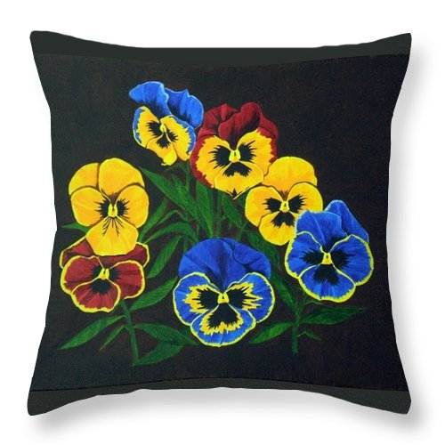 Pansies Throw Pillow featuring the painting Pansy Lions by Brandy House