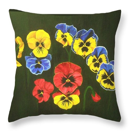 Pansy Flowers Throw Pillow featuring the painting Pansy Lions Too by Brandy House