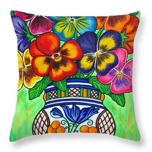 Flower Throw Pillow featuring the painting Pansy Parade by Lisa Lorenz
