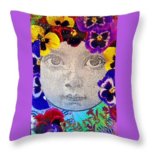 Flowers Throw Pillow featuring the mixed media Pansy by Roseann Amaranto