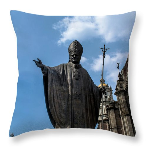 Basilica De Guadalupe Throw Pillow featuring the photograph Papa Juan Pablo II - Mexico City I by Totto Ponce