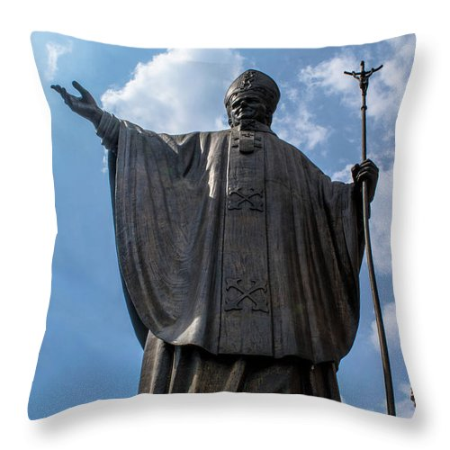 Basilica De Guadalupe Throw Pillow featuring the photograph Papa Juan Pablo II - Mexico City IIi by Totto Ponce