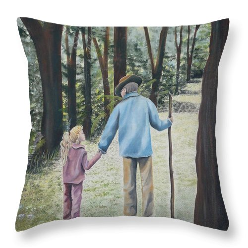 Grandfather Throw Pillow featuring the painting Papa by Kris Crollard