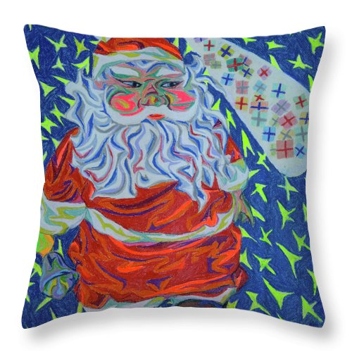 Christmas Throw Pillow featuring the painting Papa Noel Des Etoilles by Robert SORENSEN