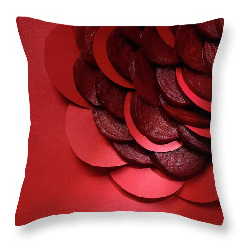 Composition Throw Pillow featuring the photograph Paper And Beets by Stefania Levi