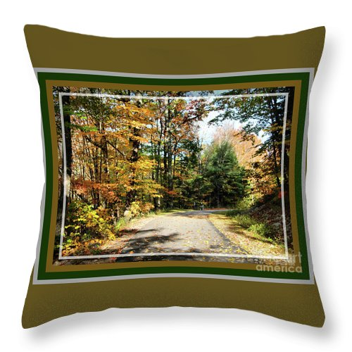 Landscape Throw Pillow featuring the photograph Paper Mill Trail, Framed by Sandra Huston