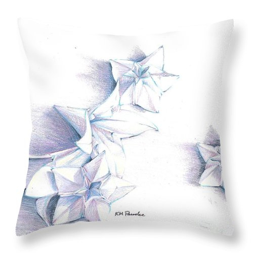 Still Life Throw Pillow featuring the drawing Paper Petals by K M Pawelec
