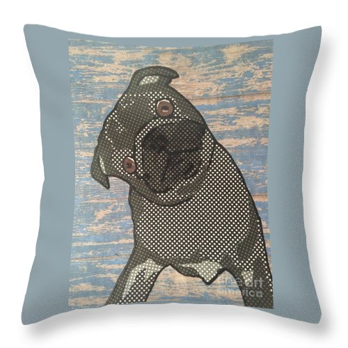 Throw Pillow featuring the mixed media Paper Pug by Purely Pugs Design