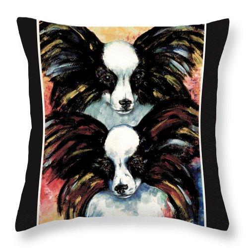 Papillon Throw Pillow featuring the painting Papillon De Mardi Gras by Kathleen Sepulveda