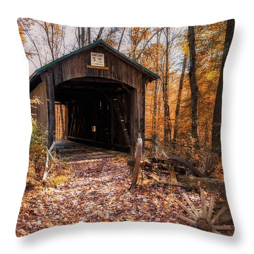 Architecture Throw Pillow featuring the photograph Pappy Hayes Covered Bridge by Tom Mc Nemar
