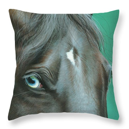 Horse Throw Pillow featuring the painting Pappy by Mike Brown