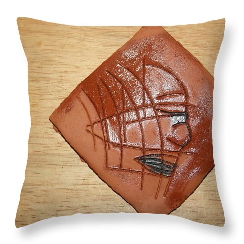 Jesus Throw Pillow featuring the ceramic art Papyrus - Tile by Gloria Ssali