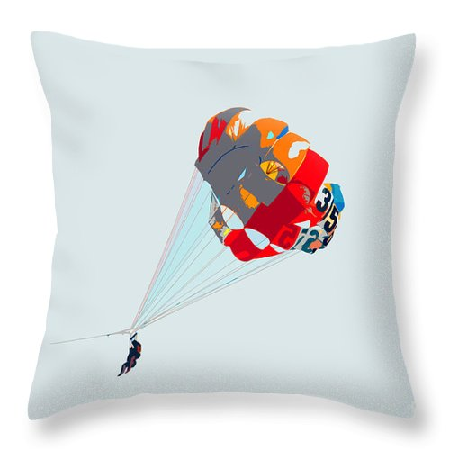 Para Sailing Throw Pillow featuring the photograph Para Sailing by David Lee Thompson
