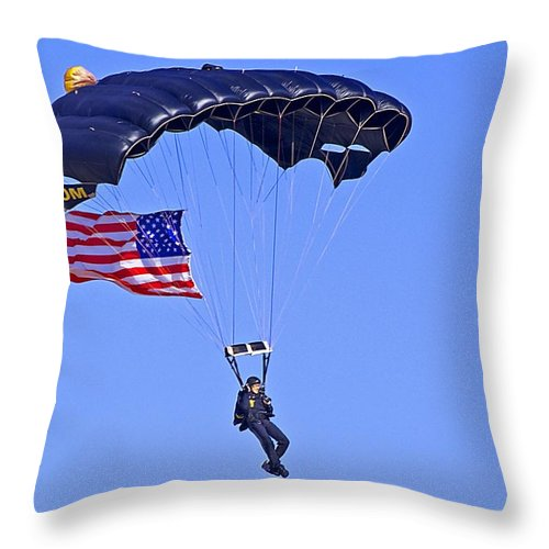 Parachute Throw Pillow featuring the photograph Parachutist by Kenneth Albin