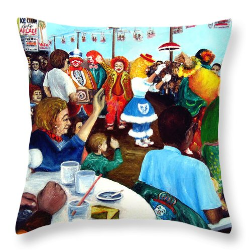 People Throw Pillow featuring the painting Parade Of Clowns In Nj by Leonardo Ruggieri