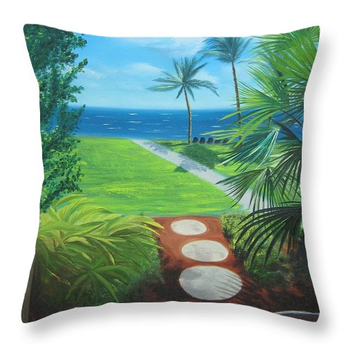 Seascape Throw Pillow featuring the painting Paradise Beckons by Lea Novak