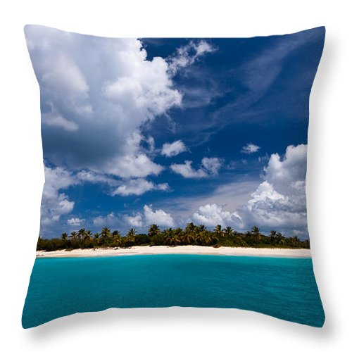 3scape Throw Pillow featuring the photograph Paradise Is Sandy Cay by Adam Romanowicz