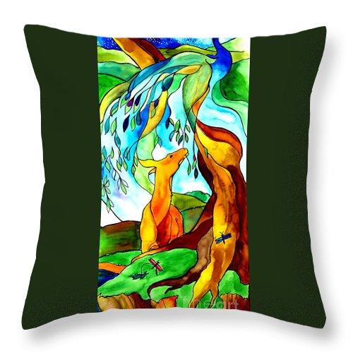 Peacock Throw Pillow featuring the painting Paradise by Jill Iversen