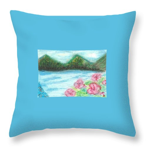 Tropical Landscape Floral Palm Trees Pastel Painting Throw Pillow featuring the painting Paradise by Monica Resinger