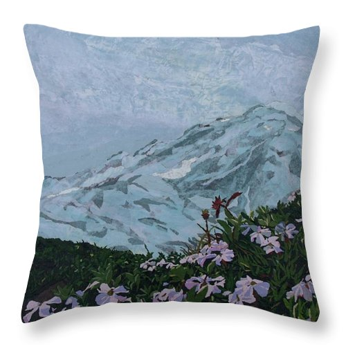 Landscape Throw Pillow featuring the painting Paradise Mount Rainier by Leah Tomaino