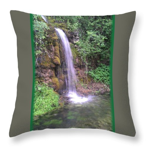 Paradise Cove Throw Pillow featuring the photograph Waterfall In Spring Paradise Cove Winslow Illinois by Peggy Beverley
