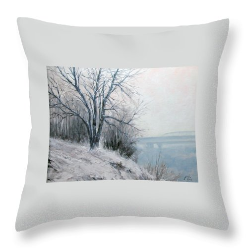 Art Throw Pillow featuring the painting Paradise Point Bridge Winter by Jim Gola