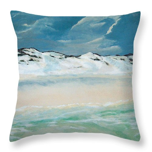 Blue Mountain Beach Throw Pillow featuring the painting Paradise by Racquel Morgan