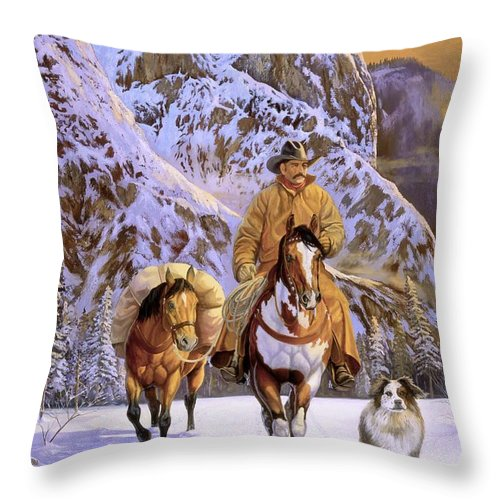 Cowboy Throw Pillow featuring the painting Pardners by Howard Dubois