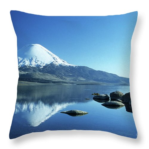 Chile Throw Pillow featuring the photograph Parinacota Volcano Reflections Chile by James Brunker