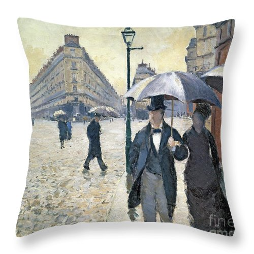 Sketch Throw Pillow featuring the painting Paris A Rainy Day by Gustave Caillebotte