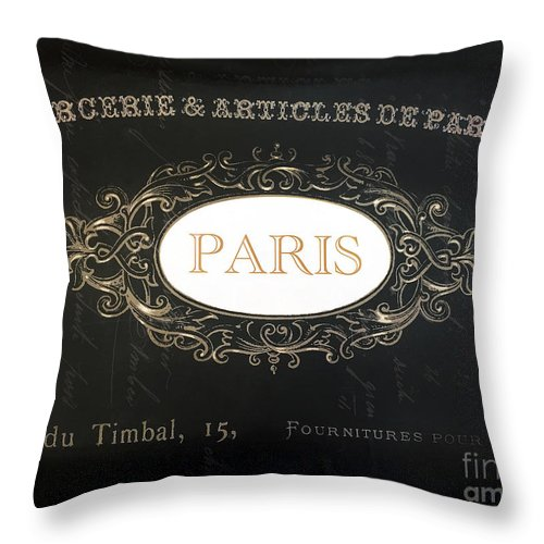 Paris Throw Pillow featuring the photograph Paris Black And White Gold Typography Home Decor - French Script Paris Wall Art Home Decor by Kathy Fornal