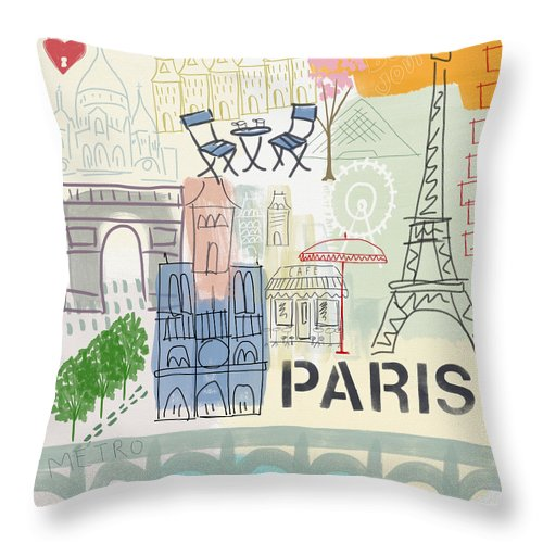 Paris Throw Pillow featuring the painting Paris Cityscape- Art by Linda Woods by Linda Woods