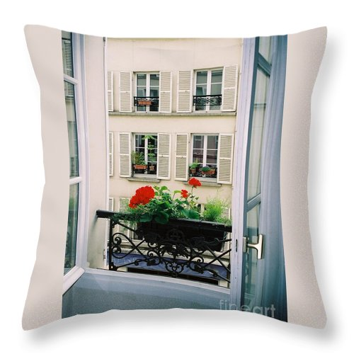 Window Throw Pillow featuring the photograph Paris Day Windowbox by Nadine Rippelmeyer