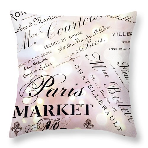 Paris Throw Pillow featuring the photograph Paris French Script Wall Decor - French Script Letters Typography - Paris French Script Wall Decor by Kathy Fornal