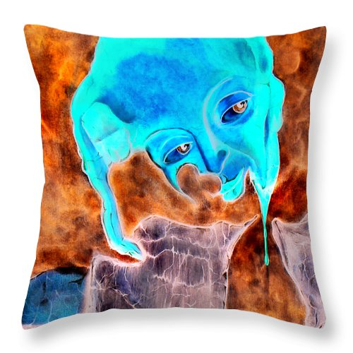 Red Blood Surrealism Color Throw Pillow featuring the painting Paris H by Veronica Jackson