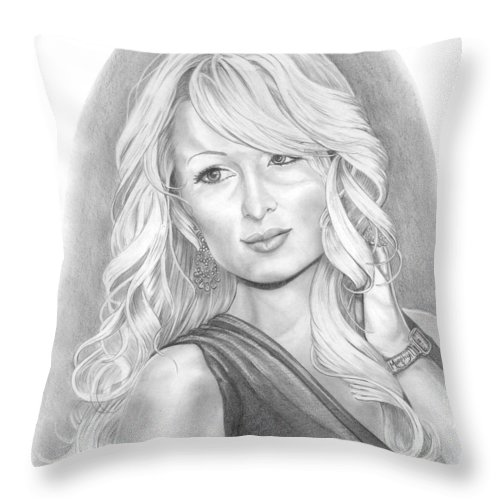 Portrait Throw Pillow featuring the drawing Paris Hilton by Murphy Elliott