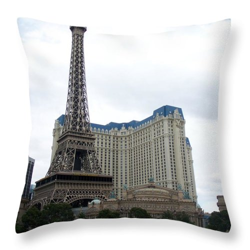 Bellagio Throw Pillow featuring the photograph Paris Hotel by Anita Burgermeister