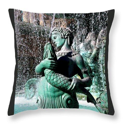 Paris Hotel Las Vegas Mermaid Figure Fish Woman Statue Throw Pillow featuring the photograph Paris Las Vegas by Grace Rose