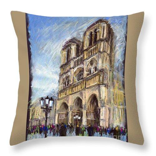 Cityscape Throw Pillow featuring the pastel Paris Notre-Dame de Paris by Yuriy Shevchuk