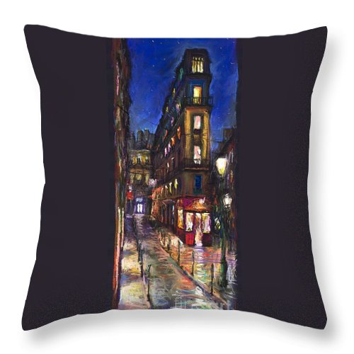 Landscape Throw Pillow featuring the painting Paris Old Street by Yuriy Shevchuk