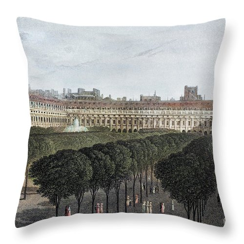 1821 Throw Pillow featuring the photograph Paris: Palais Royal, 1821 by Granger
