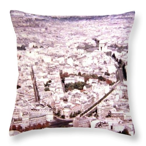 1955 Throw Pillow featuring the photograph Paris Panorama 1955 by Will Borden