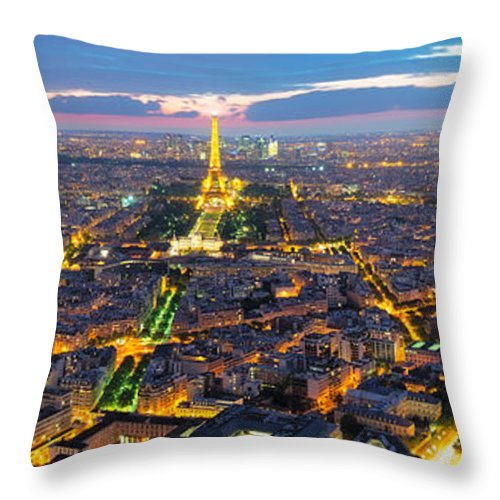 3:1 Throw Pillow featuring the photograph Paris Panorama by Andre Distel
